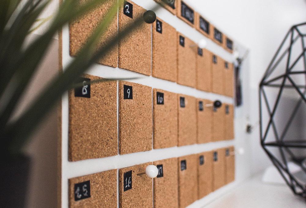 cork board calendar
