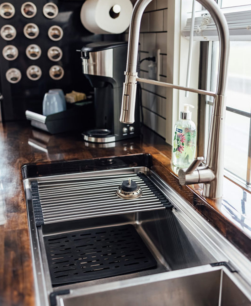 modern sink in the cabin