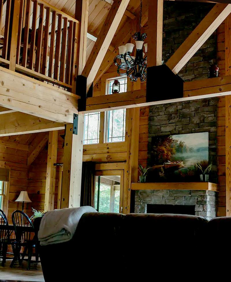 main living area in the premier cabin